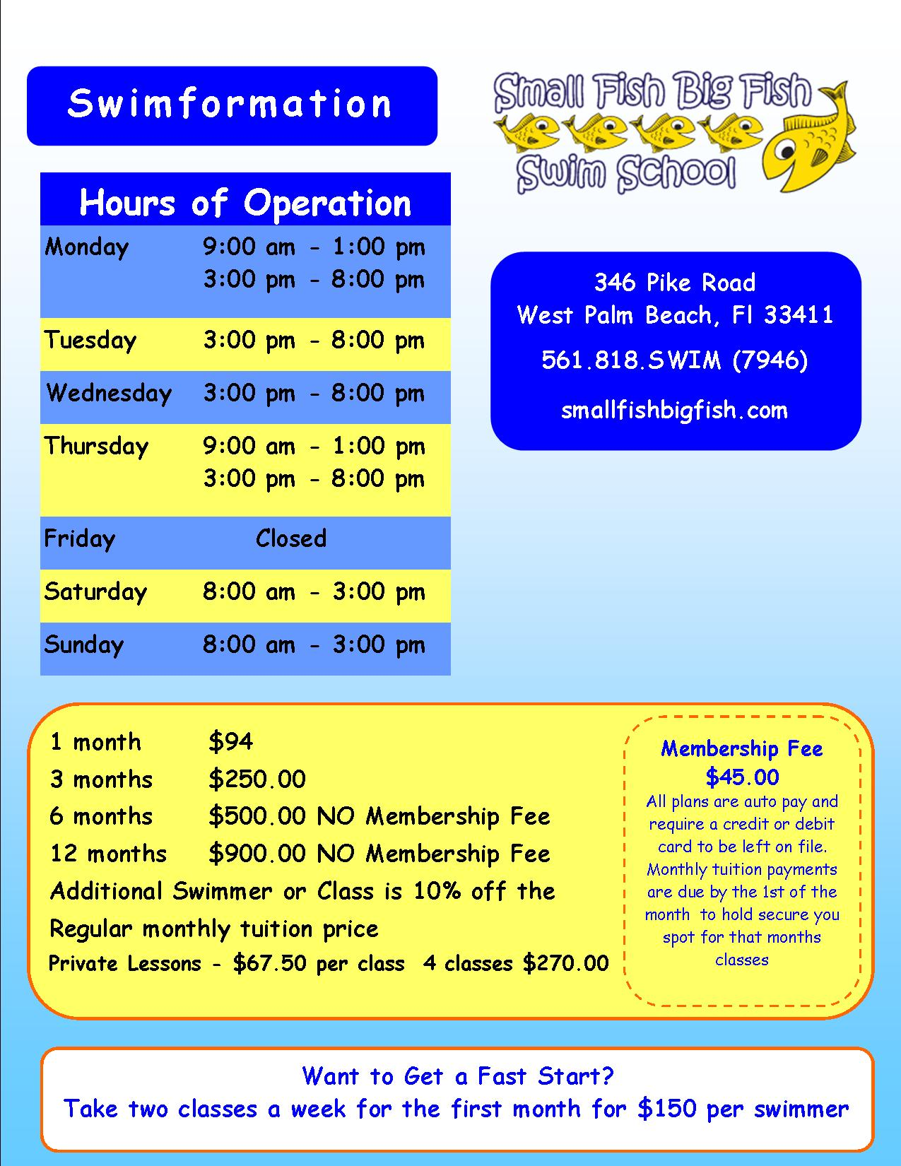 2015 Small Fish Big Fish Swim School Hours & Membership Rates